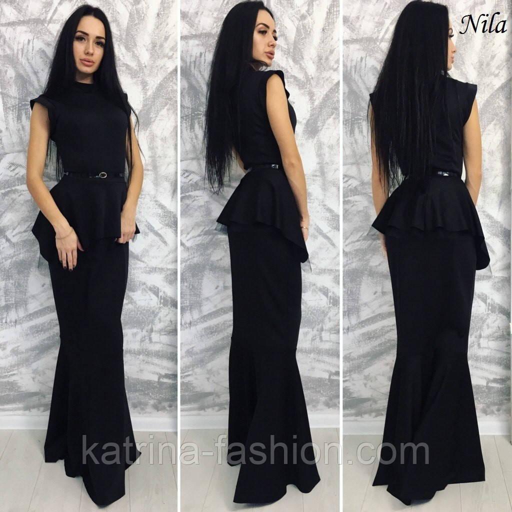 Платье с поясом-баской
