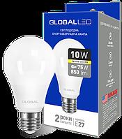 Лампа светодиодная GLOBAL A60 10W 3000K 220V E27 AL Арт.(1-GBL-163)
