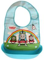 Нагрудник с жестким  пластиковым корманом для крошек и жидкости