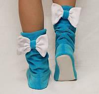 Тапочки Бантики голубые с белым бантом