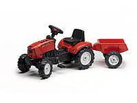 Трактор на педалях с прицепом Falk Lander красный
