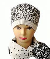 Комплект вязаный шапка и шарф Lion шерсть натуральная белого цвета