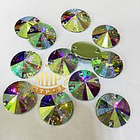 Пришивные стразы (синтетич.стекло) 10мм  риволи 1шт Цвет Crystal AB(хамелеон)