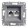 Механизм розетки телефонной RJ11+RJ45 кат, 5 UTP  сталь Schneider Electric Asfora