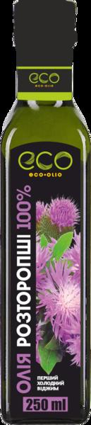 Масло расторопши пищевое Eco Olio 100% чистое первого холодного отжима, 250 мл.