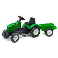 Трактор на педалях с прицепом Falk Lander зеленый