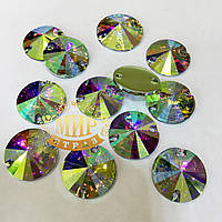 Пришивные камни (синтетич.стекло) 16мм Цвет Crystal AB(хамелеон).Цена за 1шт