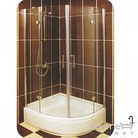 Душевые кабины, двери и шторки для ванн Ardien Полукруглая душевая кабина 100х100х150 Ardien Lux S2017 профиль хром/прозрачное стекло