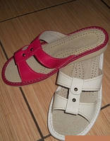 Женские кожаные тапочки разные цвета