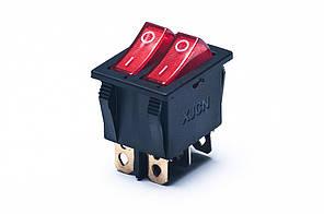 Кнопка GY5 -2001 2-я шир. 6конт. с подсв. красная