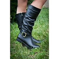 Женские кожаные сапоги на широкую ножку, возможен отшив в других цветах кожи и замша, фото 1
