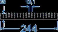 Алюминиевый радиаторный профиль 244x26 мм без покр, в аноде
