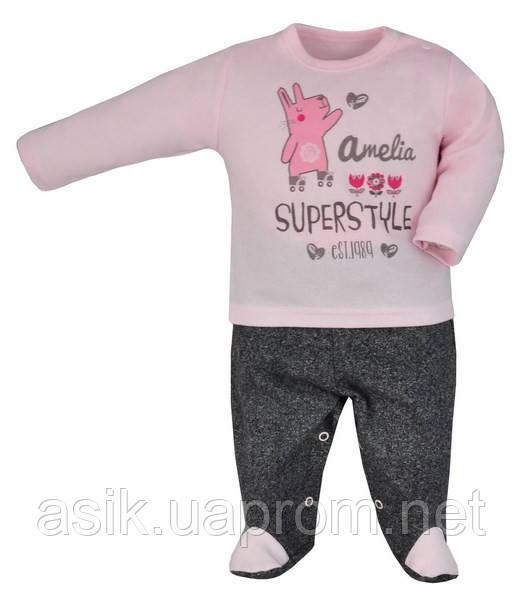 """Ползунки и кофточка """"Super style"""", цвет - серый с светло-розовым 74 р"""