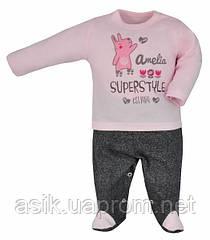 """Ползунки и кофточка """"Super style"""", цвет - серый с светло-розовым 68 р"""
