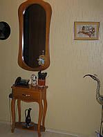 Консольный столик из ясеня с зеркалом для прихожей