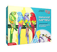 Акриловий живопис за номерами, «Екзотичні птахи» полотно 35*45см ROSA START