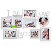 Мультирамка для 8 фотографий «Живи, Люби, Улыбайся», белая