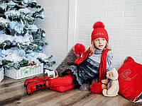 Комплект шапка шарф,цвет рубин,для девочки,тм моне,р.3-18мес.,2-6лет