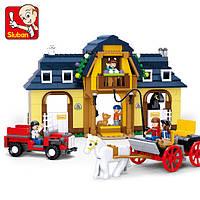 Конструктор Слубан M38-B0560 «Ферма», 526 деталей, 2 лошади, повозка, машина, ферма, фигурки