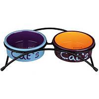 "Trixie Керамическая двойная миска на подставке  ""Eat on Feet"" 0.3 l"