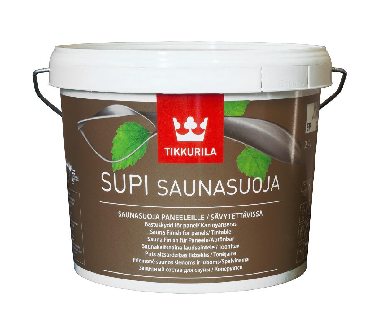 Лак влагозащитный TIKKURILA  SUPI SAUNASUOJA для древесины 2,7л