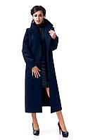 Стильное женское пальто-халат. Модель ПЛ003_Синий.
