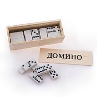 Домино белое в деревянной коробке