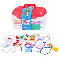 Набор юного доктора M 0460 U/R, чемоданчик, 34 предмета, тонометр, очки, шприц, лекарства, свет