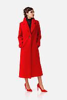 Модное пальто-халат красное