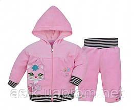 """Костюм велюровий """"Мурчик"""" для дівчинки 74 р. колір - рожевий."""