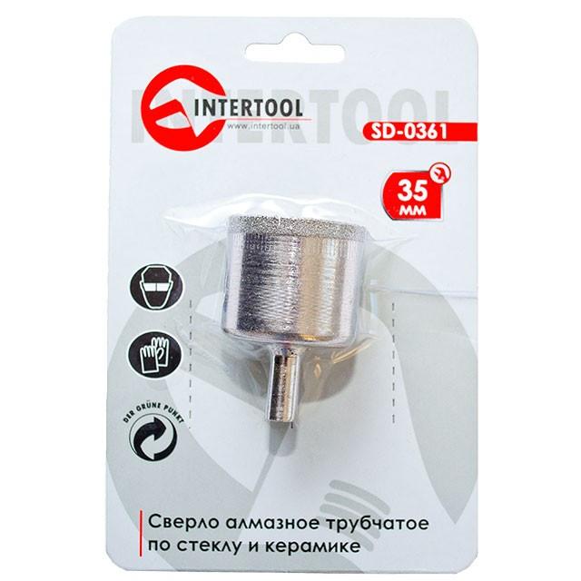 Алмазне свердло трубчасте по склу та кераміці 35 мм INTERTOOL SD-0361