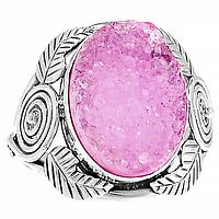 Агат розовый друза, серебро 925, кольцо