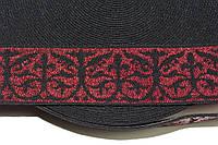 Резинка декоративная 60мм. черный+красный , фото 1