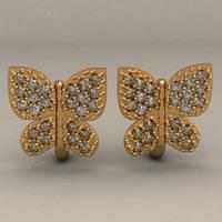 """""""Бабочки с Фианитами"""" - женские золотые серьги 585* пробы"""
