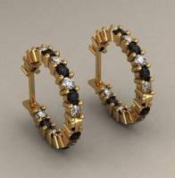 Стильные женские золотые серьги 585* пробы с контрастными вставками