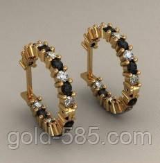 Стильные женские золотые серьги 585  пробы с контрастными вставками ... 0c51a7f2bf8