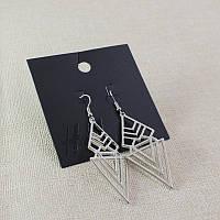 Красивые стильные женские серебристые серьги геометрической тематики от H&M
