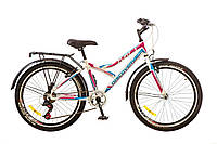 "Велосипед Discovery Flint 24"" 14G Vbr рама-14"" St 2017 (OPS-DIS-24-058) бело-сине-розовый"