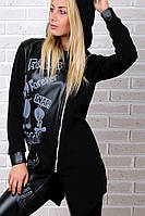Брендовый гламурный батальный зимний спортивный костюм Турция S M L XL XXL 50 52 54 чёрный