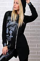 Брендовый гламурный зимний спортивный костюм Турция S M L XL XXL 50 52 54 чёрный