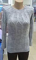Нежный женский вязанный серый свитер размер 42-44