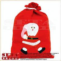 Мешочек Санта новогодний 29х40 см ткань