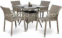 Комплект  для кафе  QUADRO / TOPAZZIO GREY  стол 80X80см +4 кресла