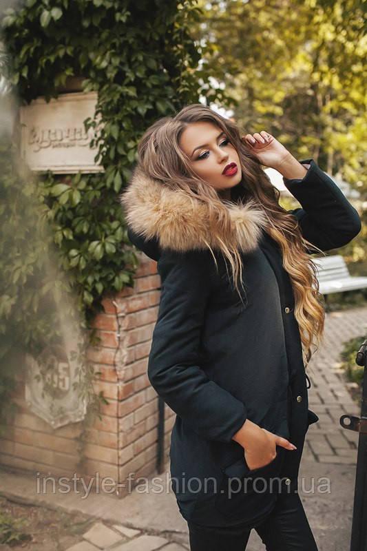 Женская теплая парка с натуральным мехом на синтепоне 200 цвет черный