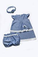 Детские шорты-панталоны для девочек с кружевом (хлопок деним)