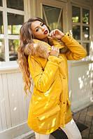 Женская теплая парка с натуральным мехом на синтепоне 200 цвет желтый