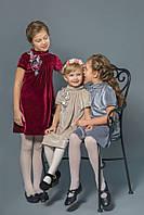 Детское нарядное платье для девочки бархат бежевое