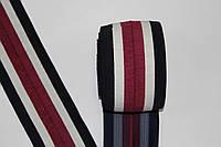 Резинка манжетная 130мм.  черный+белый хб+бордо хб, фото 1