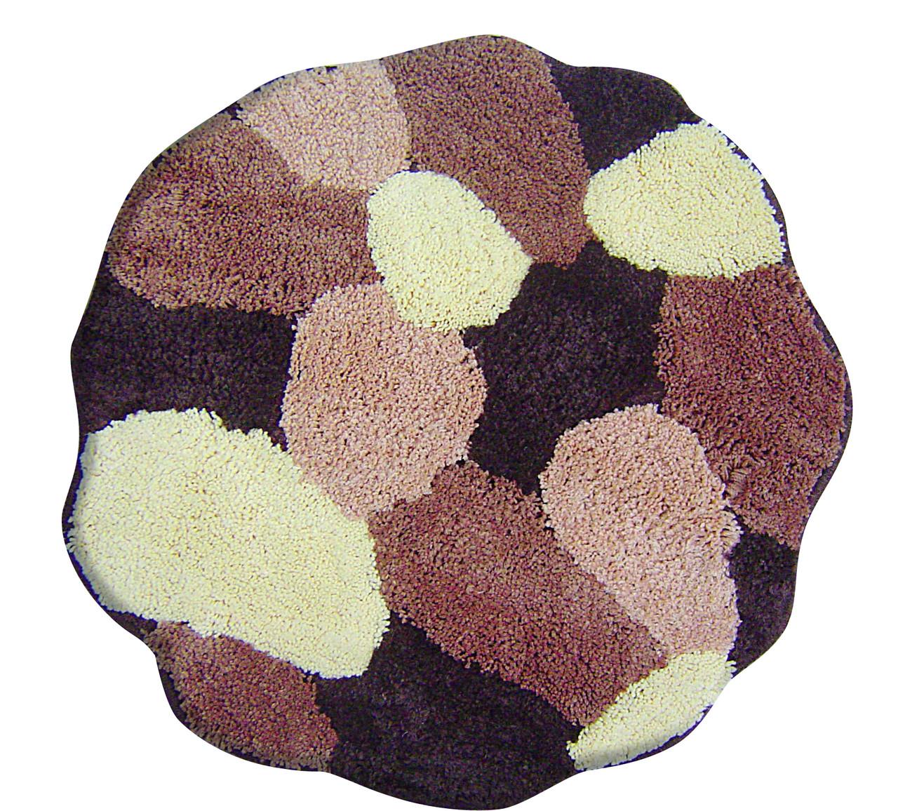 Коврик для ванной комнаты из микрофибры Ø60 круглый коричневые камни AWD02160915