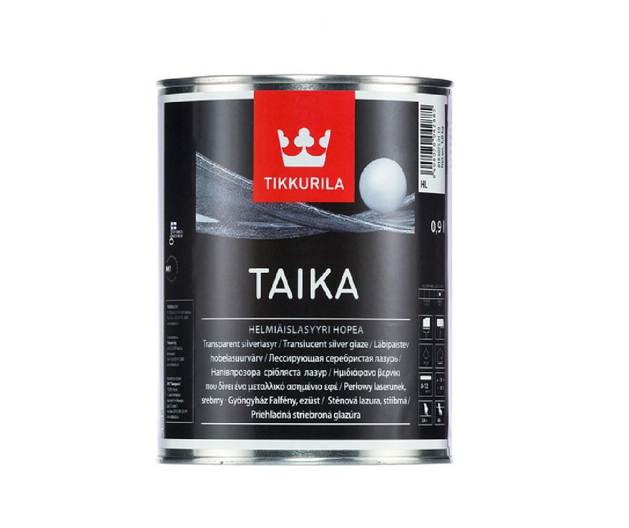 """Лазурь """"перламутр"""" TIKKURILA TAIKA LASUR серебристая-база HL 0,9л"""
